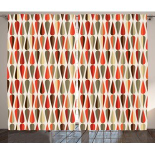 alejandro retro graphic print text semi sheer rod pocket curtain panels set of 2 - Retro Curtains