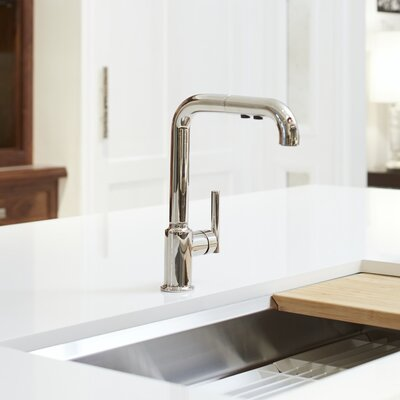 Sink Faucet Single Kitchen Pullout Polished Nickel photo