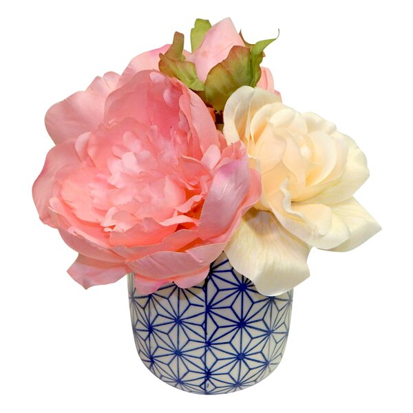 Peonies and Roses Centerpiece in Dolly Pot by August Grove