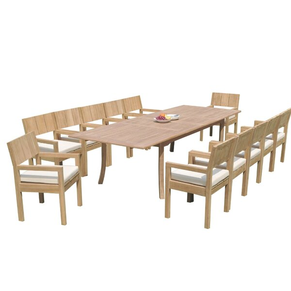 Irvin 13 Piece Teak Dining Set by Rosecliff Heights