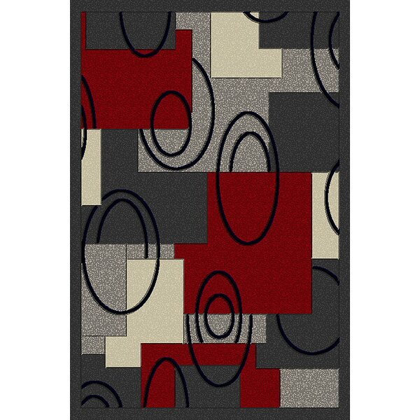 Red/Gray Area Rug by Ebern Designs