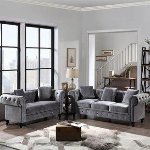2 Piece Velvet Chesterfield Living Room Set by Rosdorf Park
