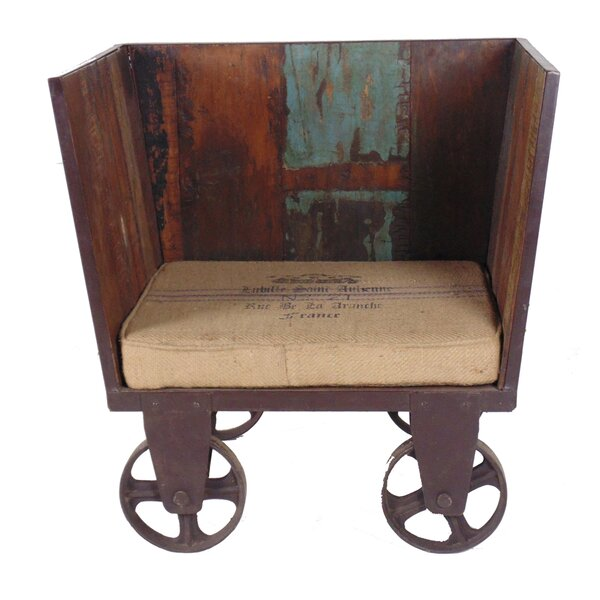 Theodore Iron Trolley Settee with Cushion by Millwood Pines