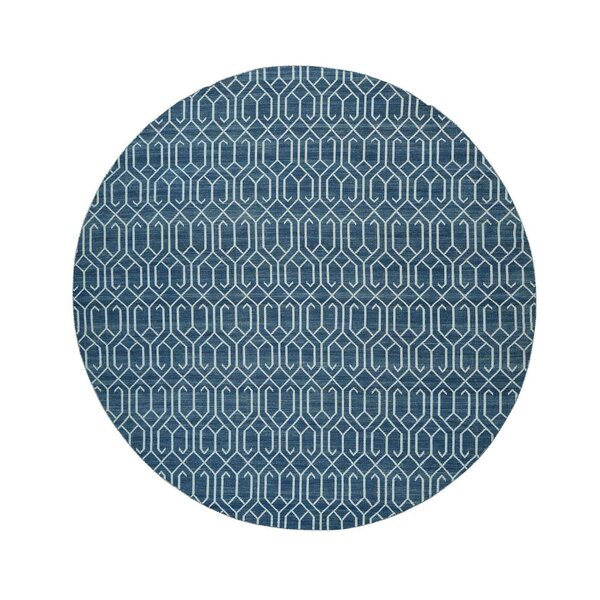 Flat Weave Reversible Kilim Hand-Knotted Blue Area Rug by Bungalow Rose