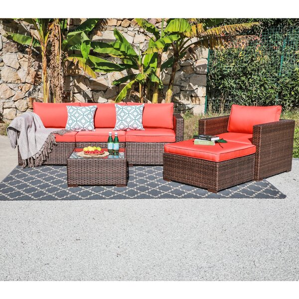 Iohannes 6 Piece Rattan Sofa Seating Group with Cushions by Ebern Designs
