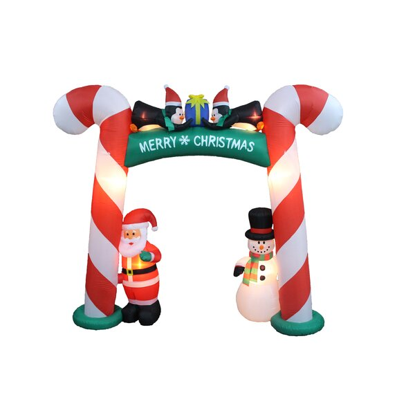 Christmas Inflatable Candy Cane Arch with Santa, Snowman, and Penguins by The Holiday Aisle