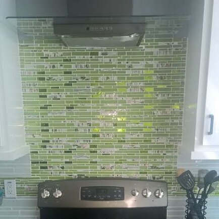 Signature Line Floral Glass Mosaic Tile in Green by Susan Jablon