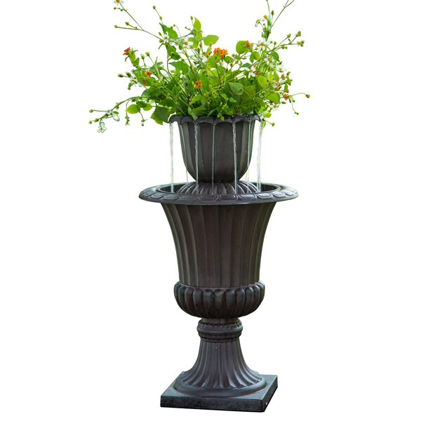 Resin Outdoor Urn Flower Pot Water Fall Fountain by Peaktop