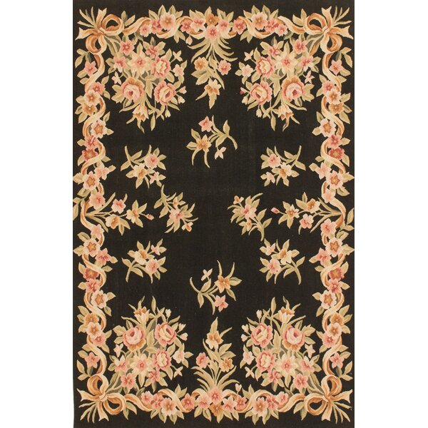 One-of-a-Kind Hand-Knotted Black / Beige Area Rug by ECARPETGALLERY