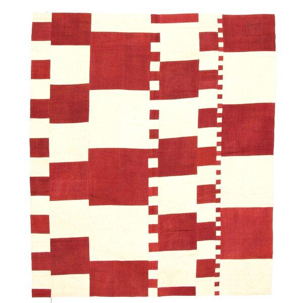 Fulghum Handmade Kilim Wool Dark Red/Ivory Rug