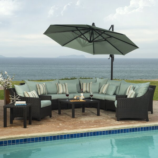 Northridge 9 Piece Rattan Sectional Seating Group with Cushions by Three Posts