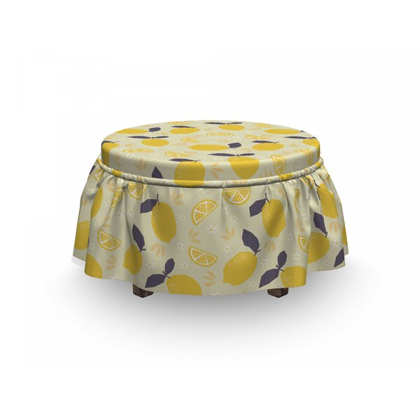 Lemons And Blossoms Ottoman Slipcover (Set Of 2) By East Urban Home