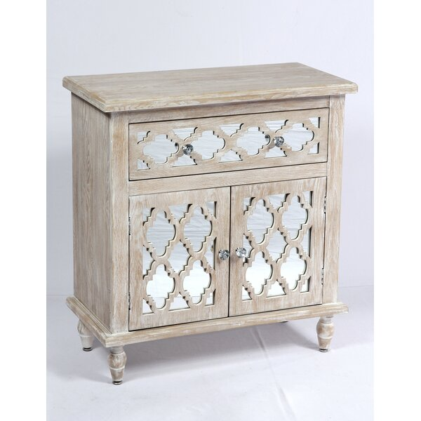 Amanda Whitewash and Mirror 2 Doors Accent Cabinet by Ophelia & Co.