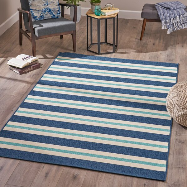 Briar Striped Blue Area Rug by Breakwater Bay