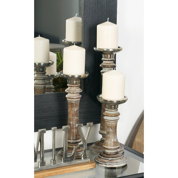 3 Piece Wood Candlestick Set by Cole & Grey
