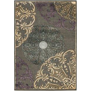 Best Reviews Saint-Michel Charcoal Floral Rug ByBungalow Rose