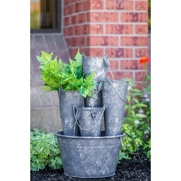 Metal Pails in Large Pail Fountain with LED Light by Hi-Line Gift Ltd.