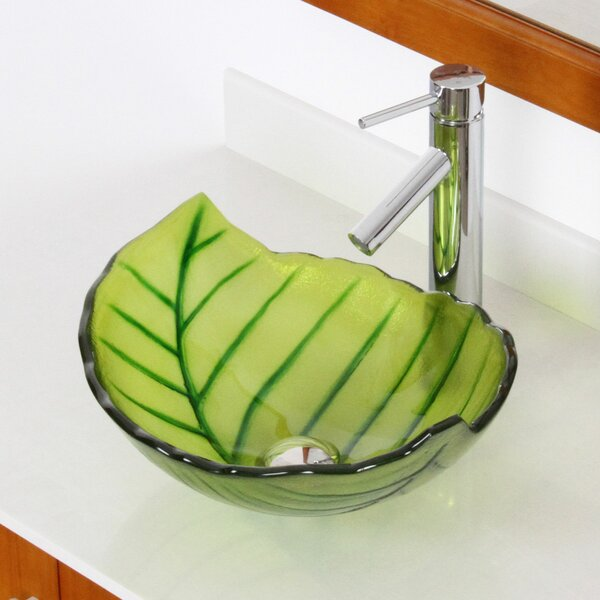 Hot Melted and Hand Painted Spring Leaf Transparent Bowl Glass Specialty Vessel Bathroom Sink by Elite
