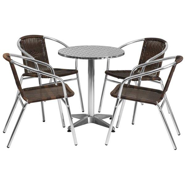 Koa Round Indoor Outdoor 5 Piece Bar Height Dining Set by Ebern Designs