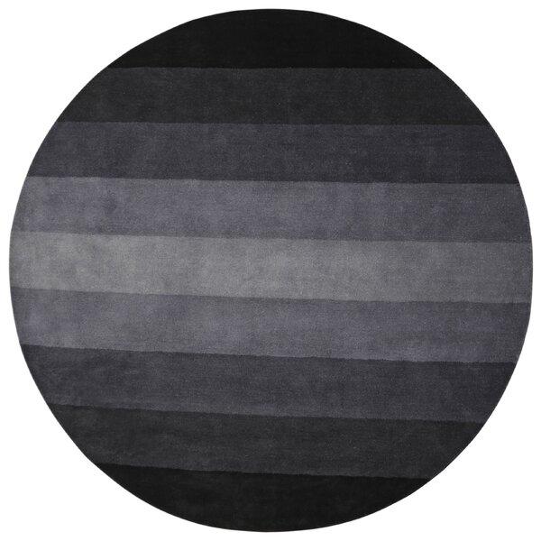 Degarmo Stripes Hand-Tufted Black Area Rug by Mercury Row