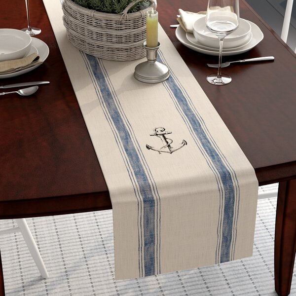 Ingersoll Anchor Feed Sack Table Runner by Beachcrest Home