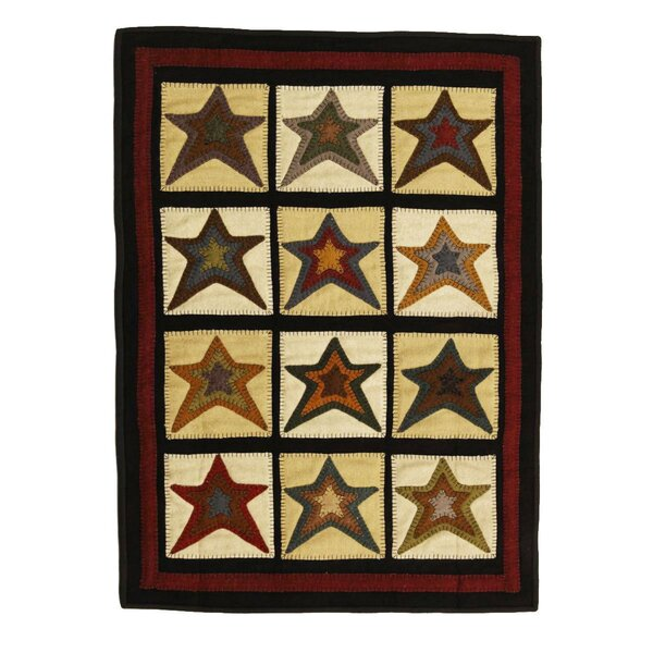 Penny Star Patch Black/Beige Area Rug by Homespice Decor