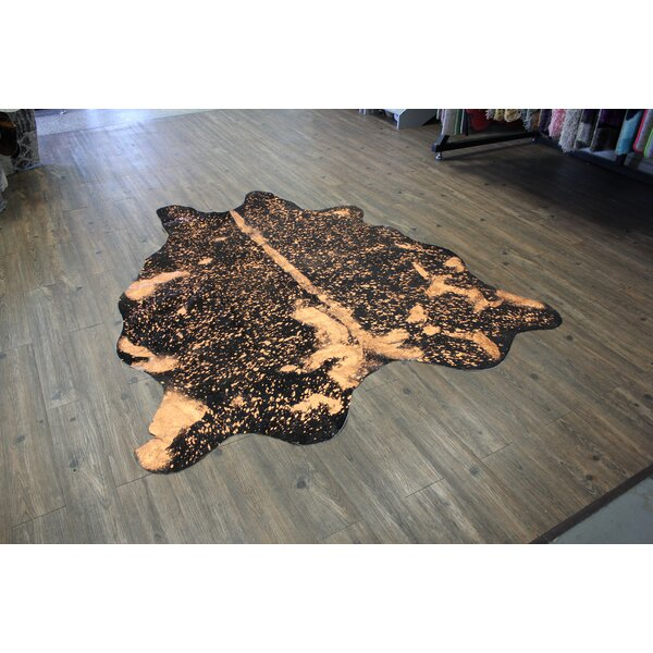 One-of-a-Kind Bester Premium Hand-Woven Cowhide Beige/Black Area Rug by Brayden Studio