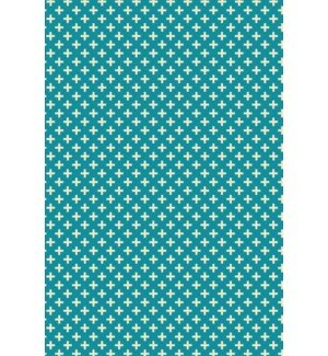 Justice Elegant Cross Design Teal/White Indoor/Outdoor Area Rug by George Oliver