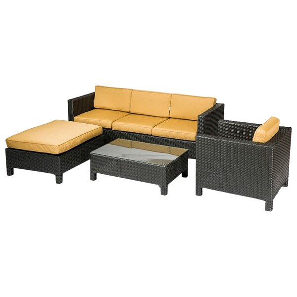 George 4 Piece Sunbrella Conversation Set with Cushions by Bay Isle Home