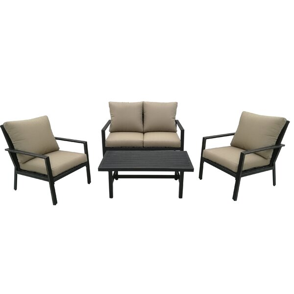 Roberta 4 Piece Rattan Sofa Seating Group with Cushions by Highland Dunes
