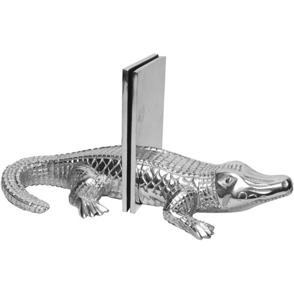 2 Piece Cast Aluminum Alligator Book End Set by Bay Isle Home
