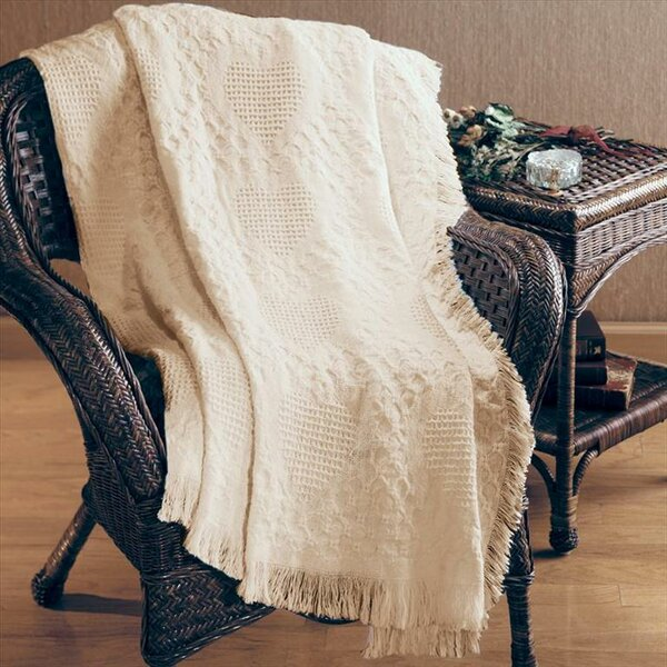 Basketweave Hearts 2 Layer Cotton Throw by Manual Woodworkers & Weavers