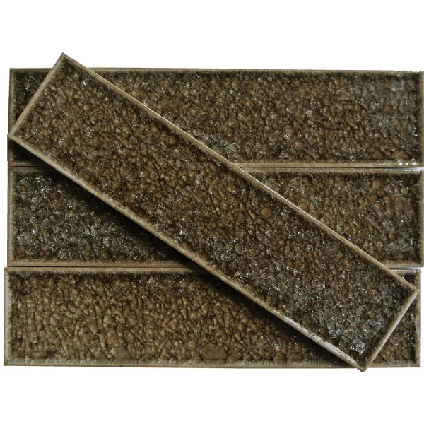 Roman Selection 2 x 8 Glass Subway Tile in Iced Gold by Splashback Tile