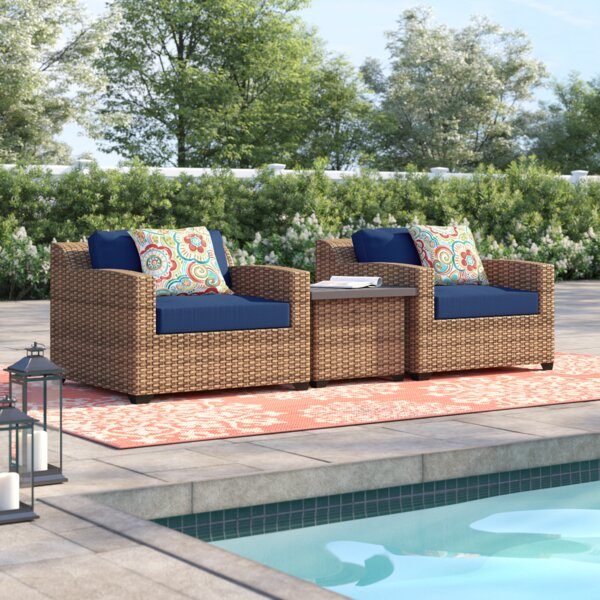 Waterbury 3 Piece Rattan Seating Group with Cushions by Sol 72 Outdoor