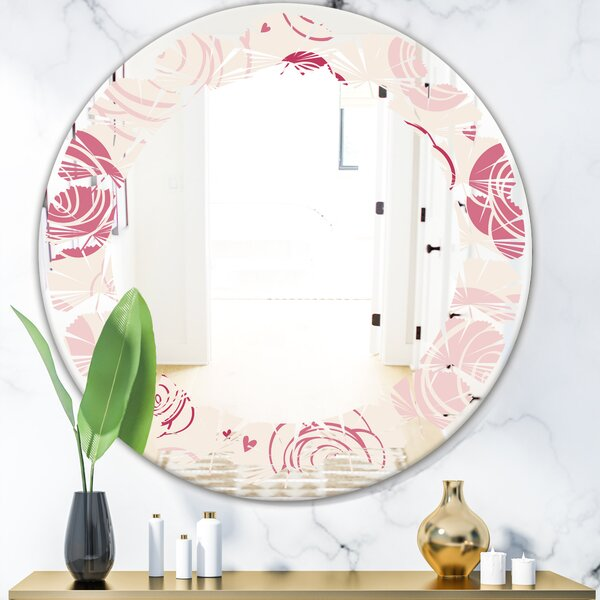 Leaves Roses Pattern Cottage Americana Frameless Wall Mirror
