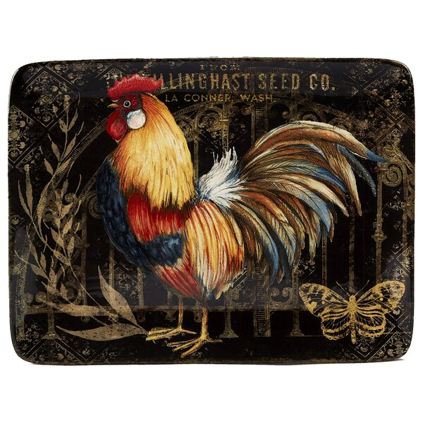 Friddle Gilded Rooster Rectangular Platter by August Grove