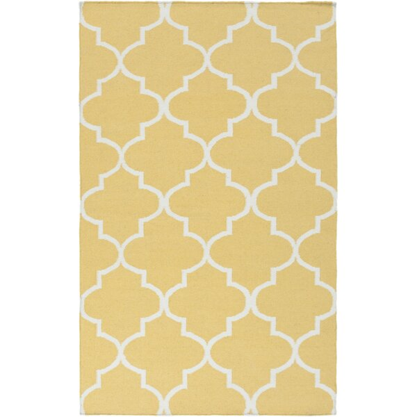 Bangor Yellow Geometric Area Rug by Ebern Designs