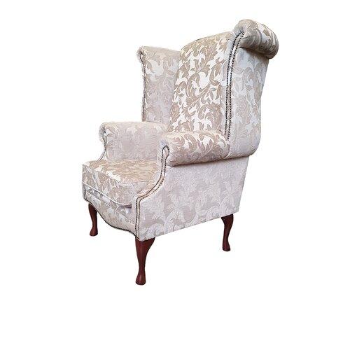Clardy Wingback Chair Astoria Grand Upholstery: Fortuna Honey Pattern, Leg Finish: Mahogany
