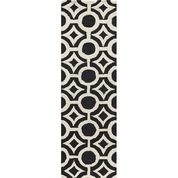 Agnese Hand-Hooked Black Area Rug by Willa Arlo Interiors