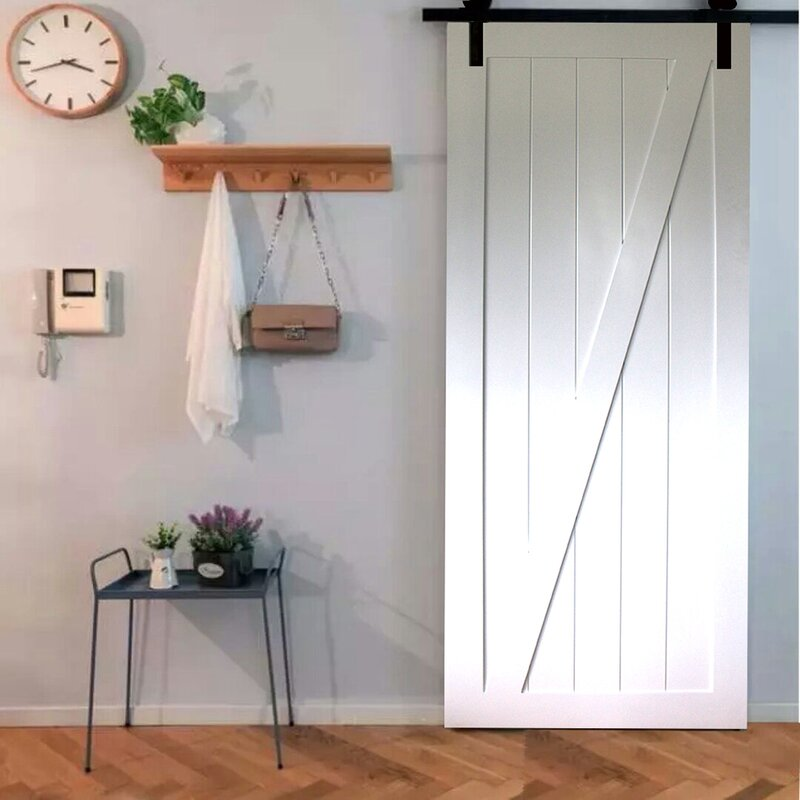 Paneled Wood Primed Z-Rail Barn Door Without Installation Hardware Kit