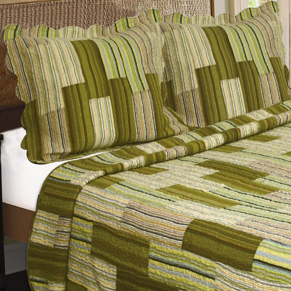 Camping Patchwork Stripe Quilt Cotton Throw by J&J Bedding