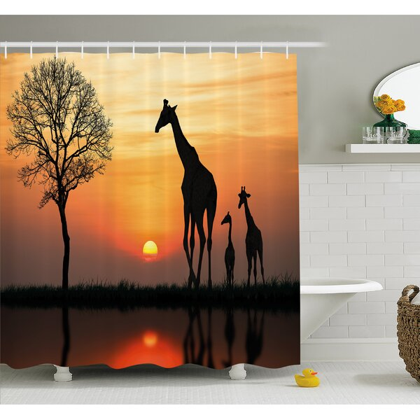 Wildlife Giraffes on Bushes by Lake Surface Horizon in the Middle of Nowhere Image Shower Curtain Set by Ambesonne