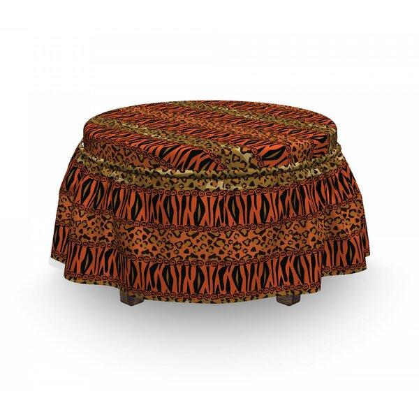 African Leopard Cheetah Skin 2 Piece Box Cushion Ottoman Slipcover Set By East Urban Home
