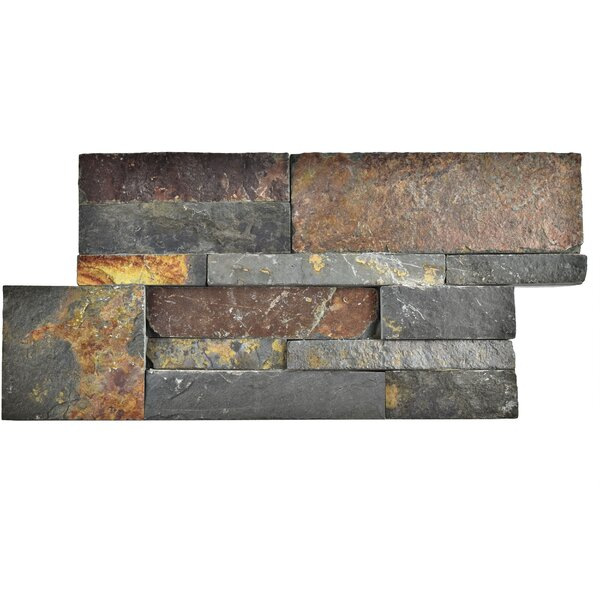 Piedro 7 x 13.5 Natural Stone Splitface Tile in Gray/Rusty Brown by EliteTile