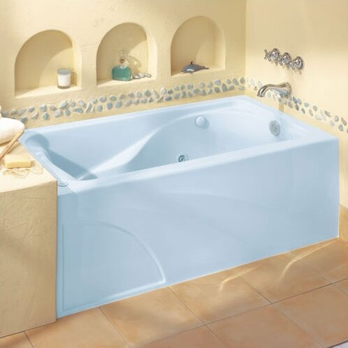 Cadet 60 x 32 Air/Whirlpool Bathtub with Hydro Massage System l / Integral Apron and Right Hand Outlet by American Standard