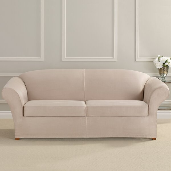 Free Shipping Ultimate Heavyweight Stretch Suede Box Cushion Sofa Slipcover
