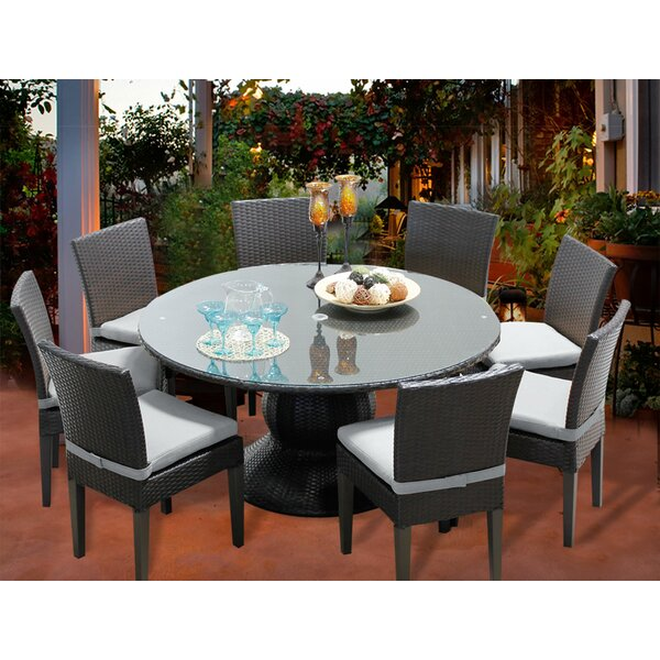 Melendez 9 Piece Dining Set with Cushions by Rosecliff Heights