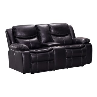 Aime Dual Wooden With Console Reclining Loveseat by Red Barrel Studio SKU:CD687359 Description