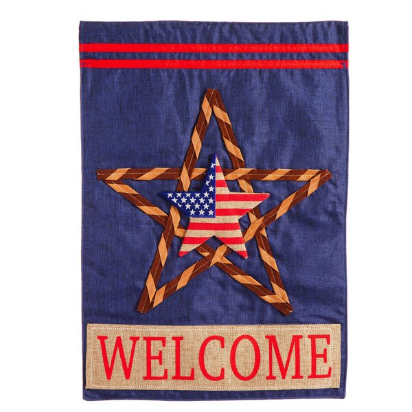 Patriotic Star Linen Garden Flag by Evergreen Enterprises, Inc