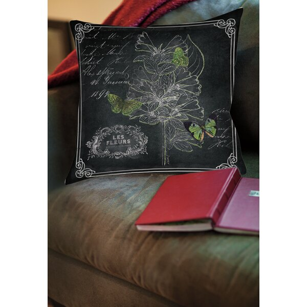 Chalkboard Botanical 2 Printed Throw Pillow by Manual Woodworkers & Weavers